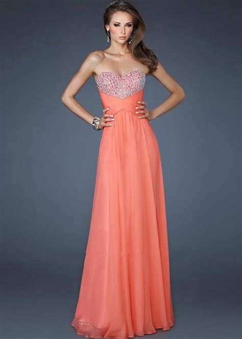 coral strapless sequin stones adorned open back long