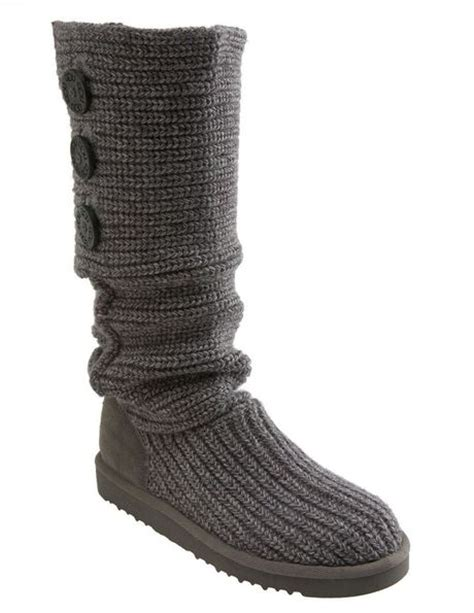 grey knitted boots ugg cardy classic knit boot in gray grey lyst