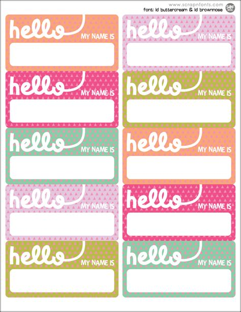 printable name label fontaholic freebie friday hello name tags