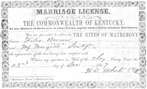 Ky Marriage License Records All Categories