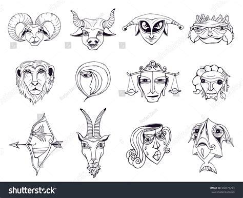 doodle zodiac set astrological zodiac symbols stock vector