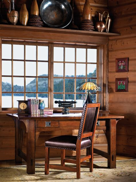 arts crafts style library craftsman cabin by the lake with stickley mission library