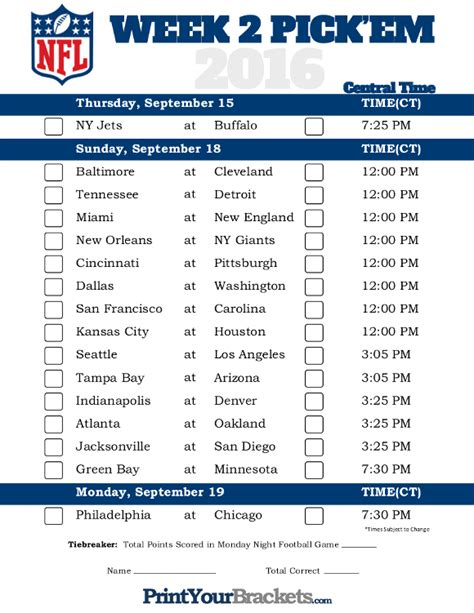 printable nfl schedule for week 2 central time week 2 nfl schedule 2016 printable