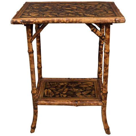 Decoupage Wood Table - small bamboo table with decoupage shells at 1stdibs