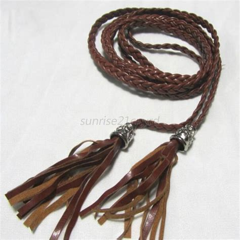 fashion s braided belt pu leather tassel self tie