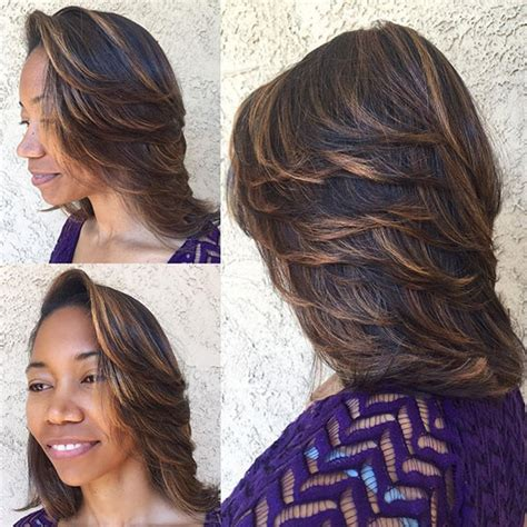 highlights for black hair and layered for ladies over 50 60 bob haircuts for black women