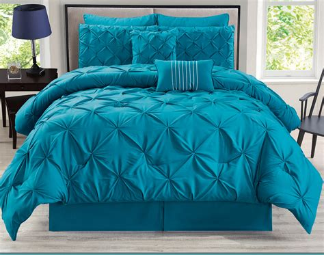 Teal Queen Comforter Set 8 Piece Rochelle Pinched Pleat Teal Comforter Set