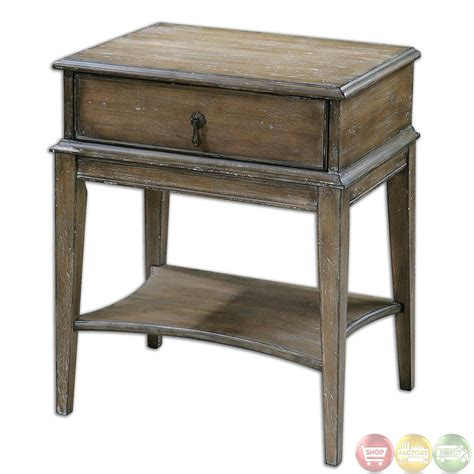 Rustic Accent Table Hanford Country Rustic Weathered Pine Accent Table 24312