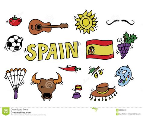 doodle espaã ol spain doodles symbols of spain stock vector image