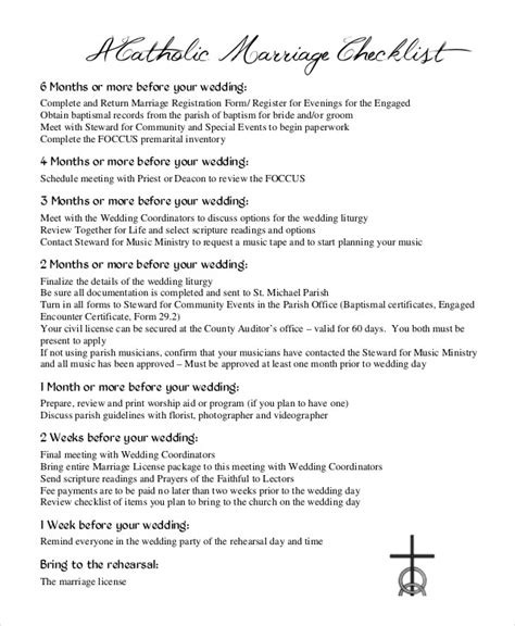 Wedding Checklist Catholic simple wedding checklist 23 free word pdf documents