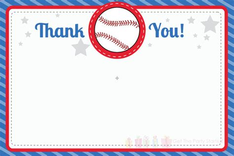 printable thank you cards baseball 8 best images of free baseball printable thank you free