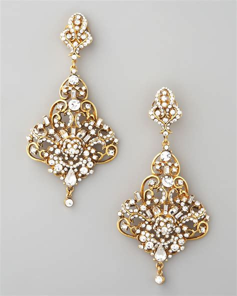 Jose Maria Barrera Gold Crystal Chandelier Earrings In Chandelier Jewelry