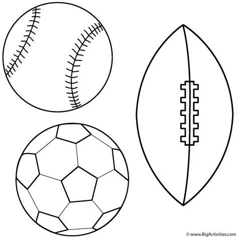 baseball soccer ball and football coloring page sports
