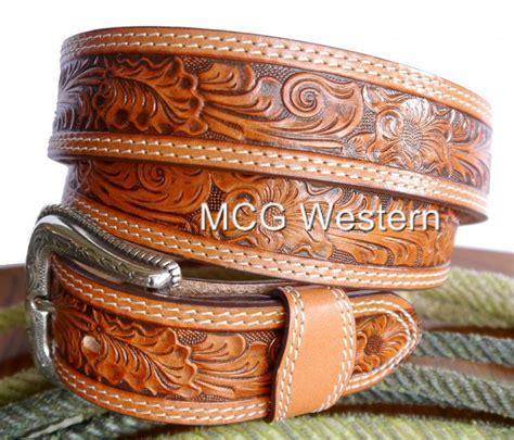 nocona western mens belt leather tooled floral ebay