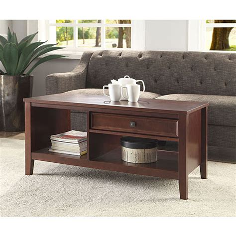 Linon Wander Coffee Table With Drawer Cherry Finish