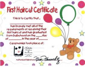 my haircut certificate template baby haircut certificate like success