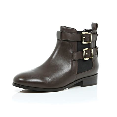 buckle shoes river island brown leather buckle chelsea boots in