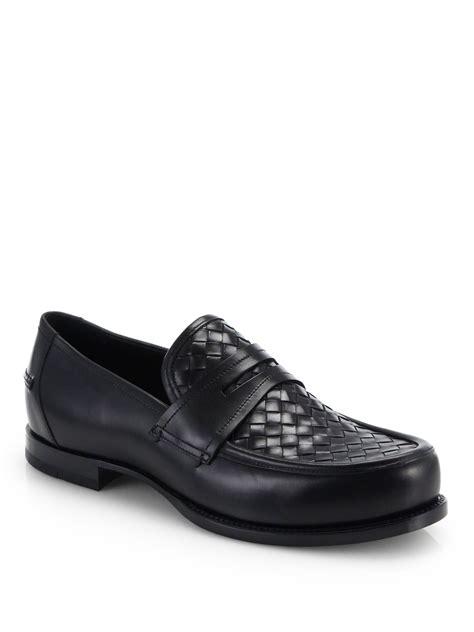 bottega veneta loafers bottega veneta intrecciato loafers in black for lyst