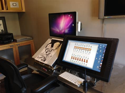 desk for digital artist workspaces sean chen comic book