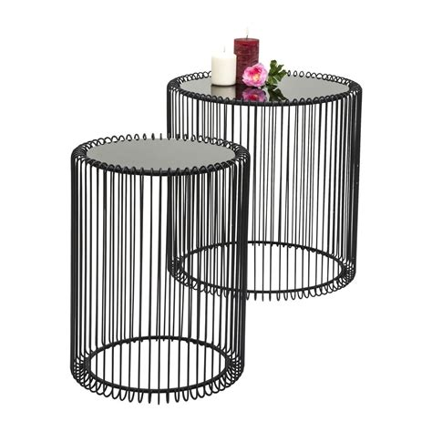 Table D Appoint Metal 5572 by Tables D Appoint Wire Noir Set De 2 Kare Design