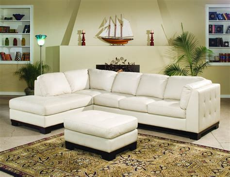 all leather sectionals tufton ivory all leather sectional living room set
