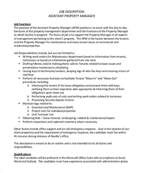 Assistant Property Manager Description sle property manager description 9 exles in pdf word