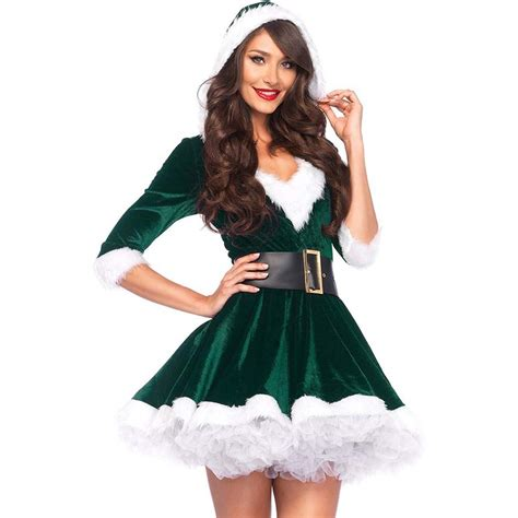 Dress Mrs White mrs claus costume set velvet hooded dress and belt