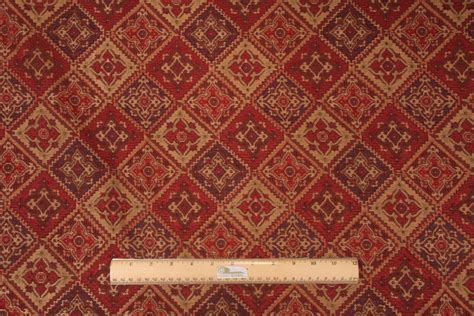 Valdese Weavers Peck Tapestry Upholstery Fabric In Ruby
