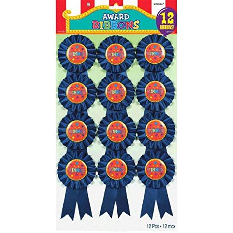 amscan 219400 quot winner quot blue rosette jumbo award ribbon favours fabric 6 quot pack