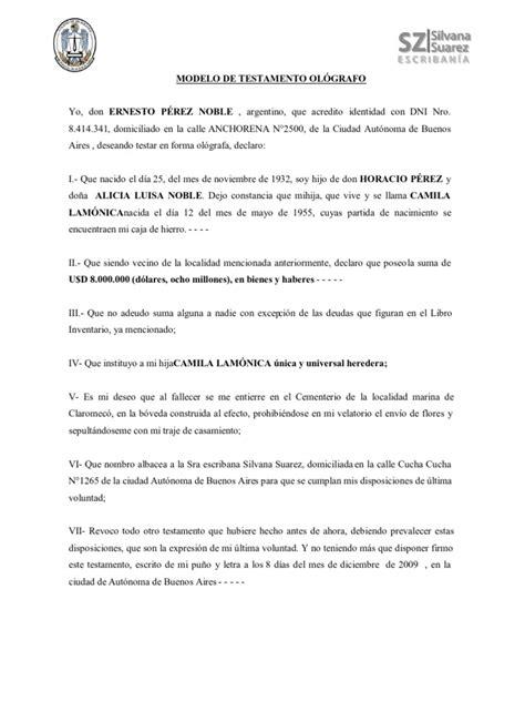 testamento olografo modelo de testamento ol 211 grafo