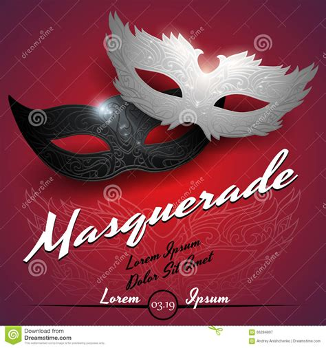 masquerade ball party invitation poster stock vector