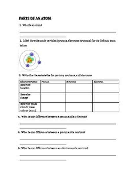 atom diagram worksheet atomic structure parts of by lam teachers pay