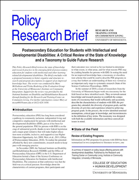 policy research brief postsecondary education for