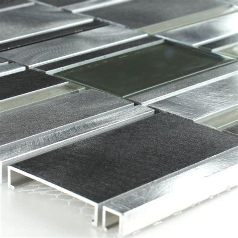alu fensterbank grau aluminium alu glas mosaik fliese grau silber tm33077m