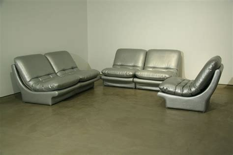 Modular Silver Leather Sofa Set By Vladimir Kagan At 1stdibs Silver Leather Sofa