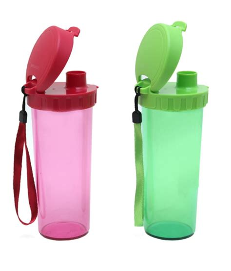 Tupperware Flower Drink Set Tupperware Pink And Green Polypropylene Flask Set Of 2 Buy At Best Price In
