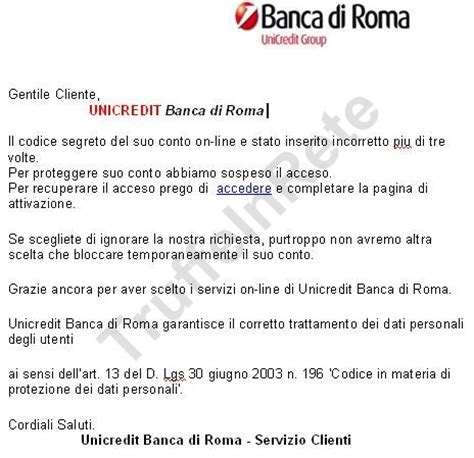 unicredito banca di roma phishing 171 truffe in rete