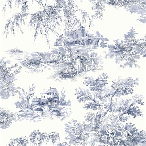 wallpaper toile blue 922060 toile de jouy toile azul crema escena co wallpaper