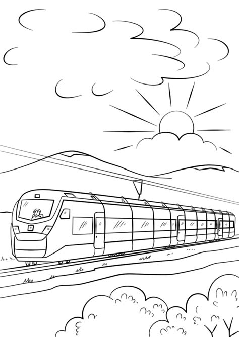 coloring page speed train intercity high speed train coloring page download