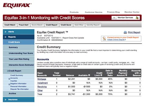 Credit Analysis Report Template Equifax Credit Sle Equifax Credit Bureau Report