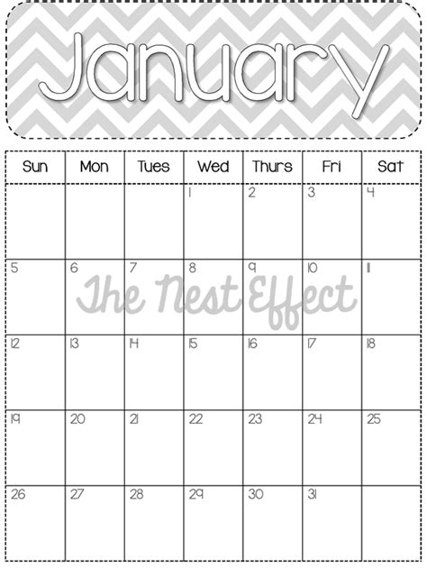 free blank calendar template 2014 the nest effect free printable 2014 monthly chevron