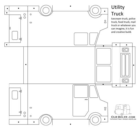 utility truck paper toy template family outdoor adventures