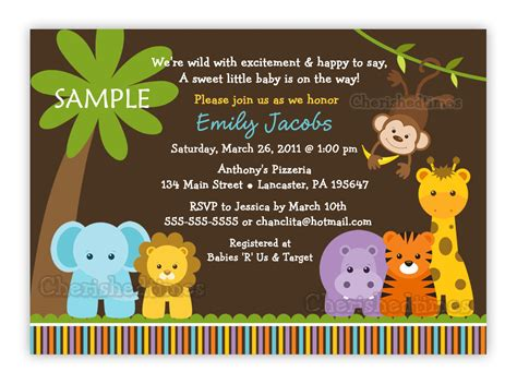 Safari Baby Shower Invitations by Jungle Safari Animals Baby Shower Invitation You Print