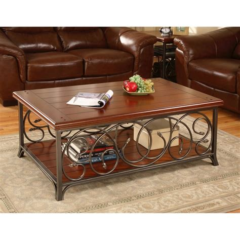 Scrolled Metal And Wood Coffee Table Scrolled Metal And Wood Coffee Table