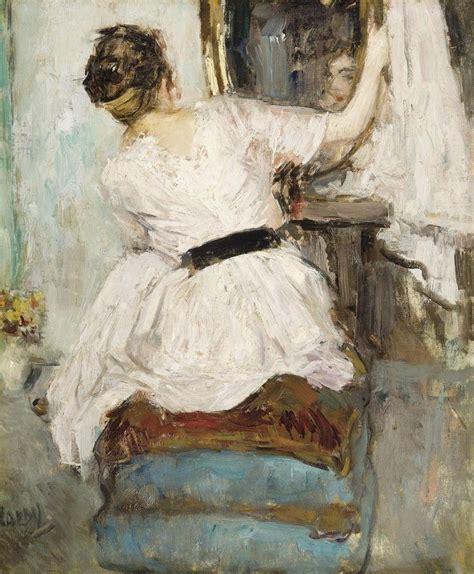 Miroir Fenetre 1877 femme se regardant dans un miroir jean laudy 1877