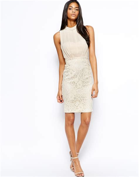 pencil dress with lace skirt in white