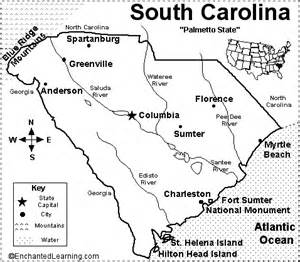pin labeled south carolina map on