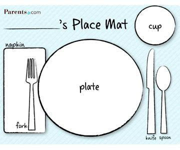 Printable Table Setting Place Mats Catholic Crafts Coloring Pinterest Teaching Kids Photo Placemat Template