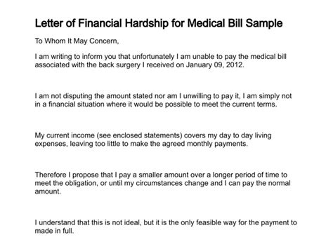 Hardship Letter To Hospital Letter Of Financial Hardship