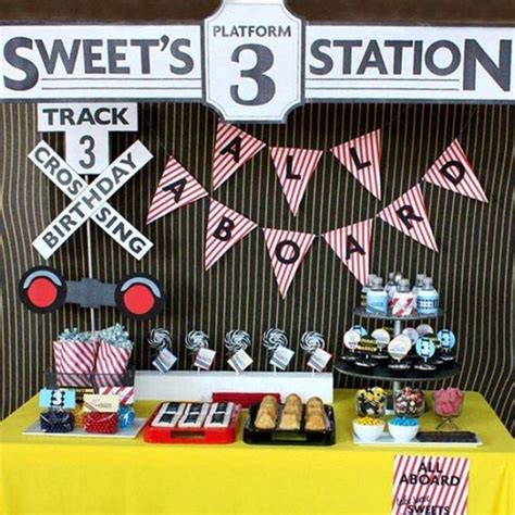 themes the girl on the train train themed 3rd birthday party dessert table spaceships